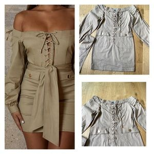 Oh Polly Taupe Off Shoulder Lace Up Mini Dress